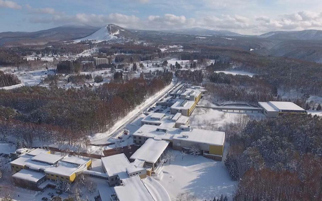 Aomori Public university Campus from the Sky (Schoolhouse and nearby Moya Ski resort, Hakkoda Federation)