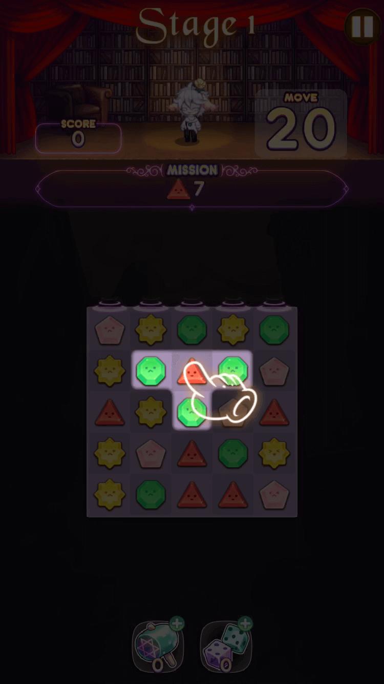 同じ模様や色の宝石を縦横に3つずつ合わせて消す