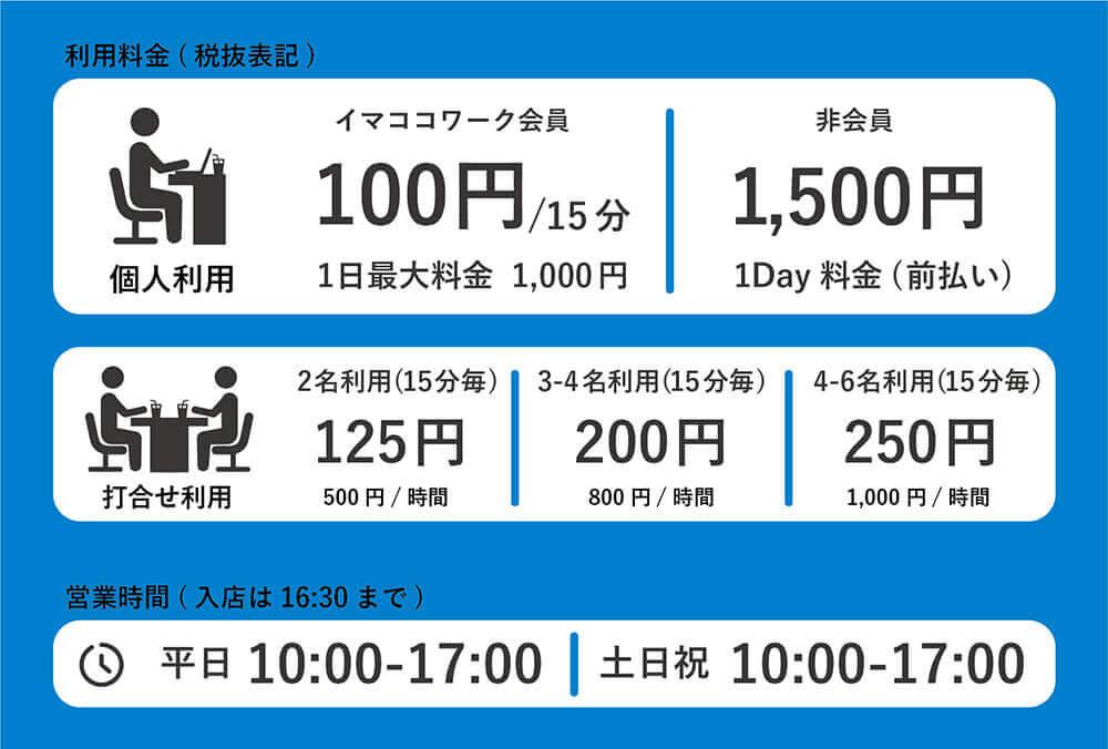 利用料金/営業時間(六本木店の場合)