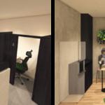 「STATION DESK」の内観および「テレキューブ」設置イメージ