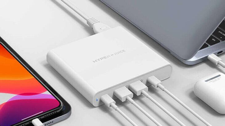 「HyperJuice 87W Dual USB-C/USB-A Power Adapter」高性能USB電源アダプタ登場【4台同時チャージ可能】