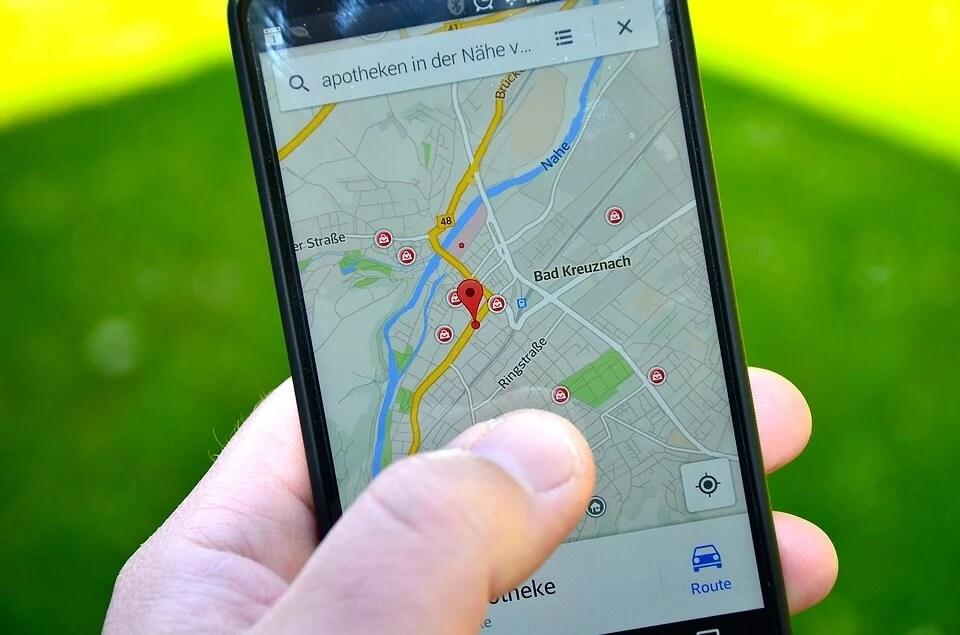 スマートフォンのマップ