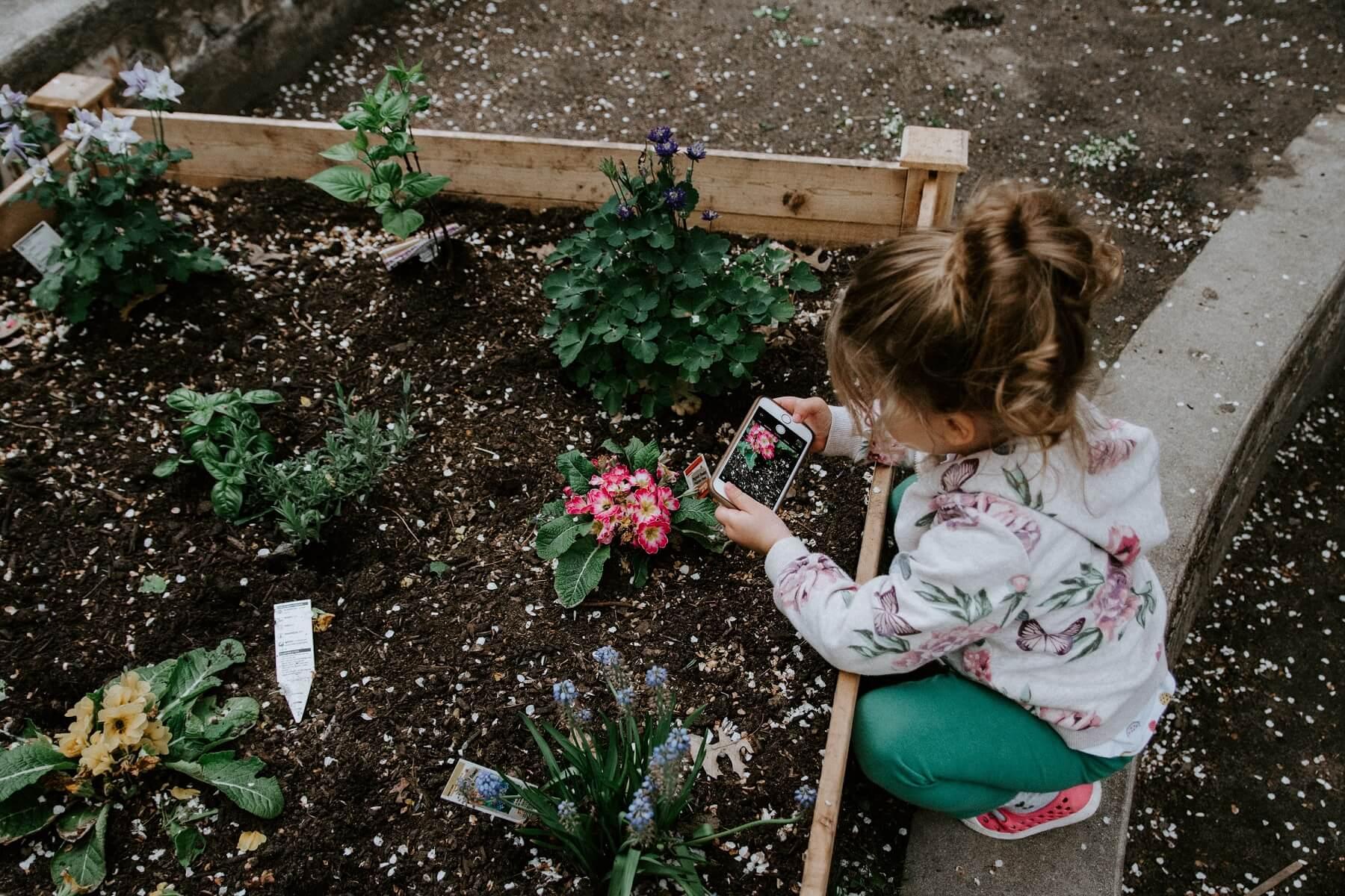 庭で遊ぶ少女
