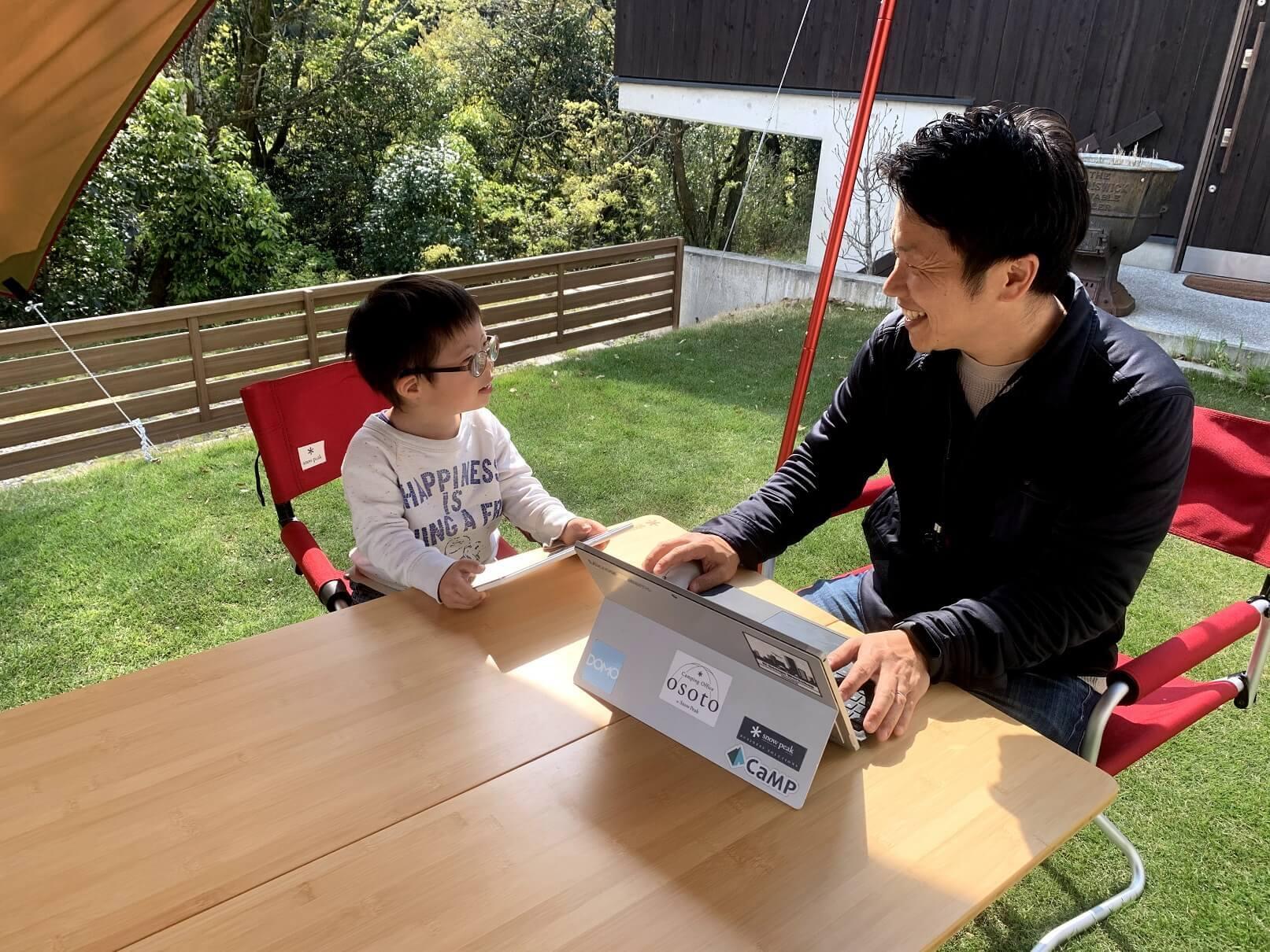 スノーピークビジネスソリューションズ 坂田さんとお子様