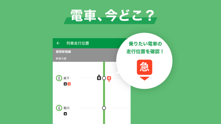 『乗換NAVITIME for スゴ得』、「列車走行位置」情報を提供開始 乗換ルートや運行情報に連動して、列車が今どこを走っているかを確認可能に