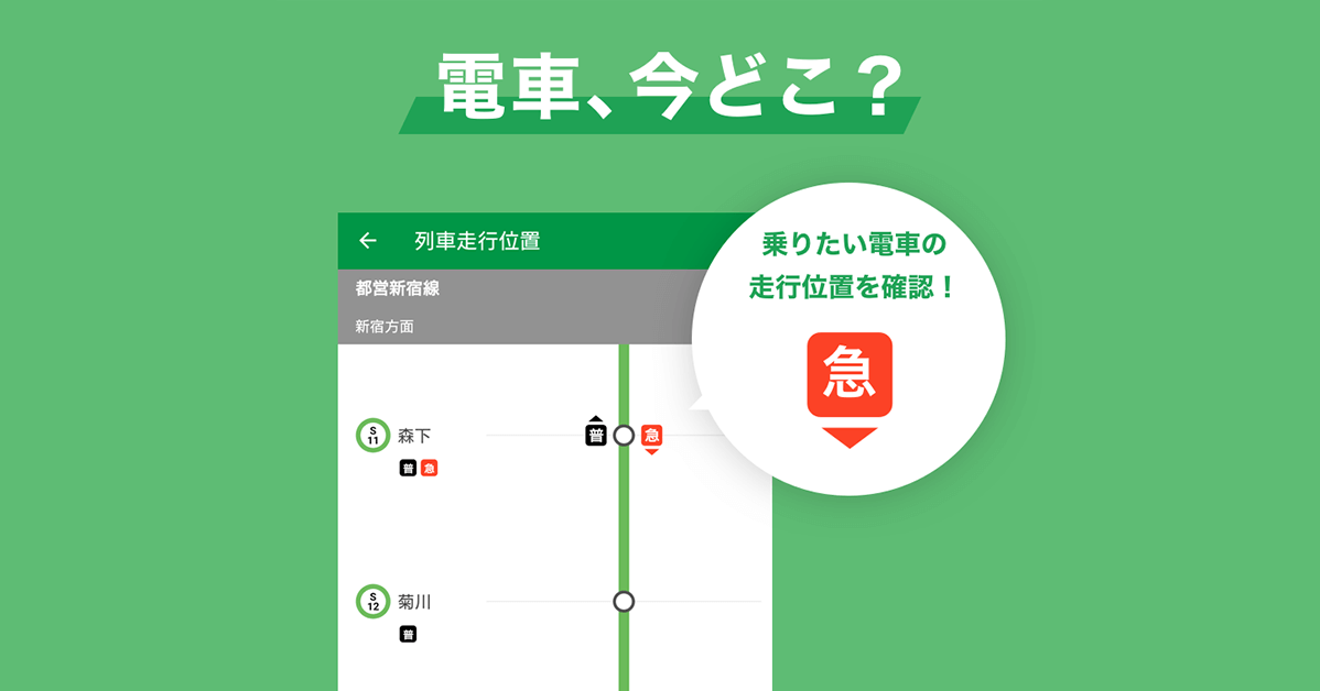 電車、今どこ?乗りたい電車の走行位置を確認!