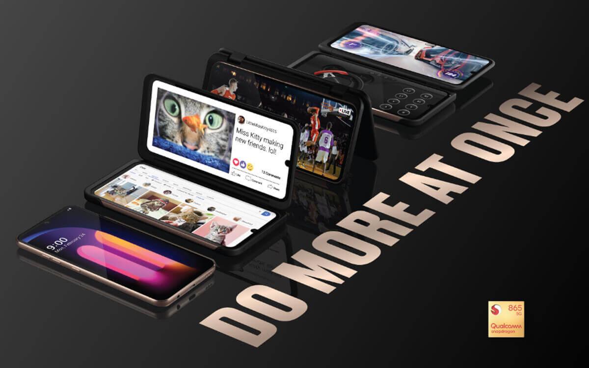 LGの主力モデルは2画面化できるカバーが用意されている