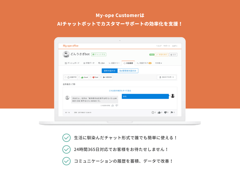 My-ope CustomerはAIチャットボットでカスタマーサポートの効率化を支援!