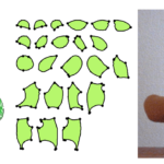 図:ぬいぐるみデザインシステムでは、型紙デザインと縫い合わせたシミュレーションをコンピュータで行ってくれるので縫い目を試行錯誤したあとで、実際に縫うことができる。