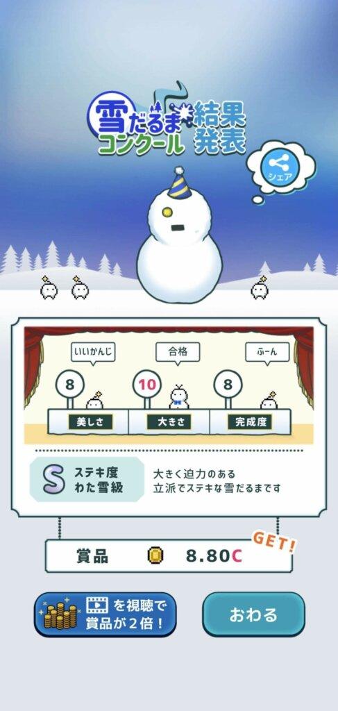 雪だるまコンクール結果発表